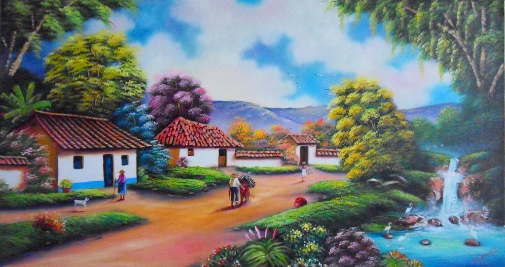 Pintura moderna y fotograf a art stica paisajes colombianos - Paisajes de casas ...