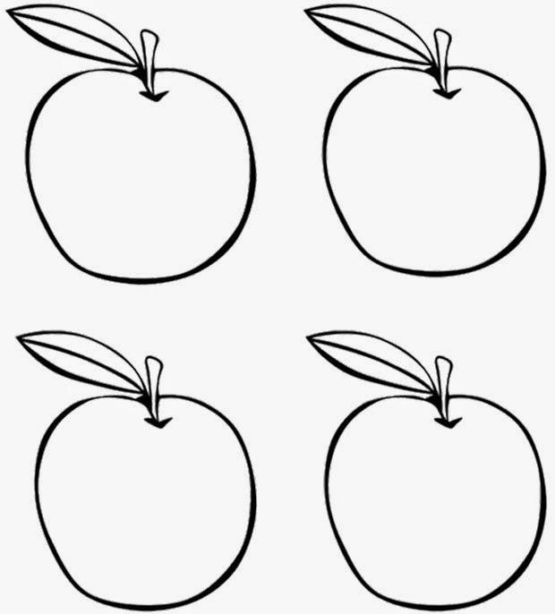 Download gambar mewarnai buah apel untuk anak
