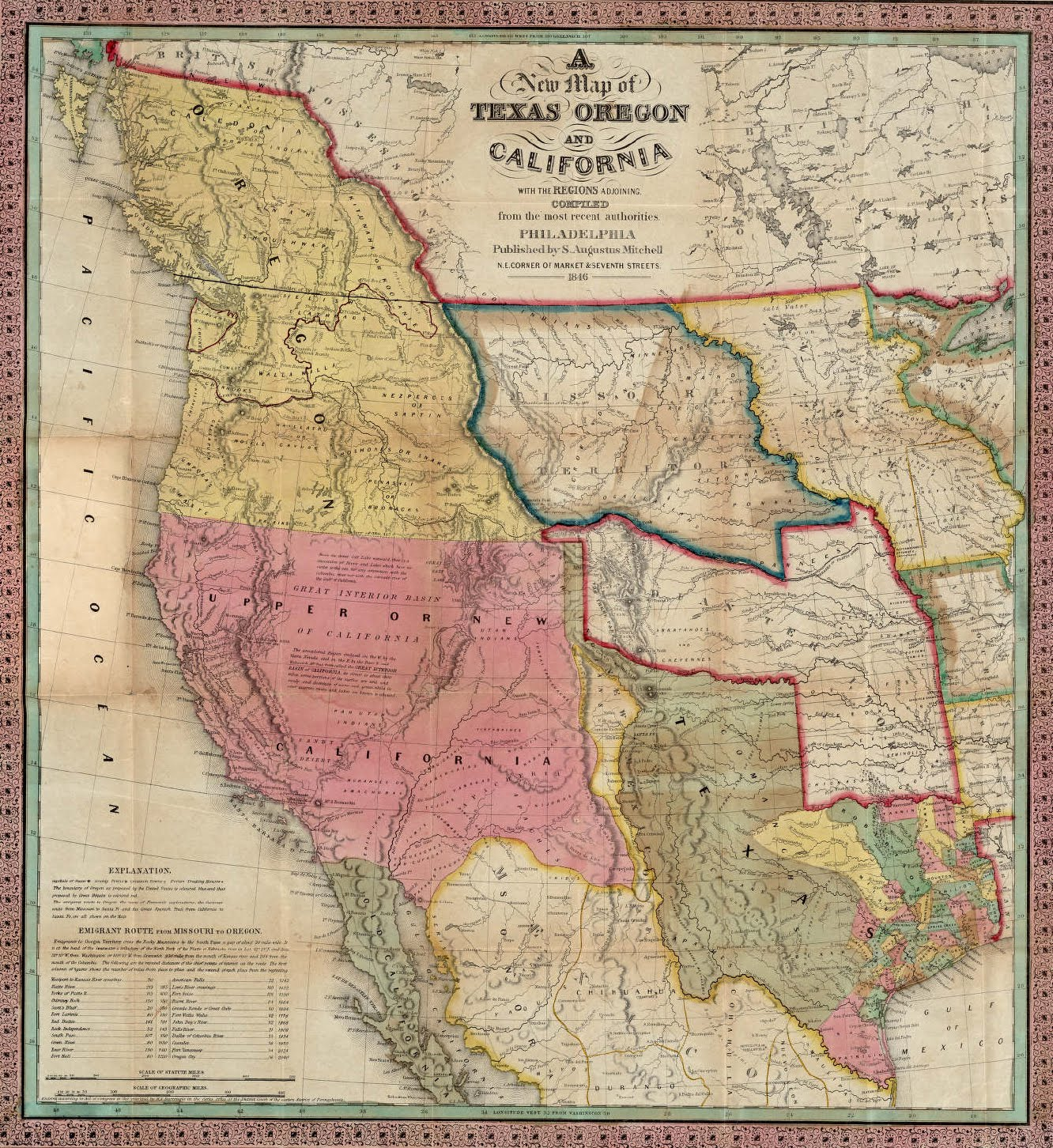 Parallel United States Map - 1845 us map