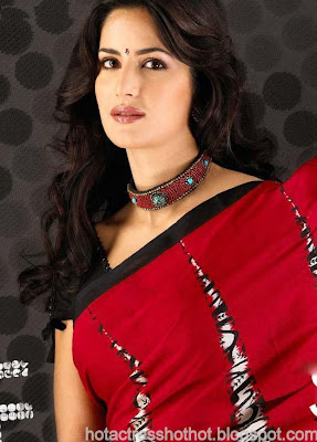 katrina kaif hot pics in red spicy saree expsoing