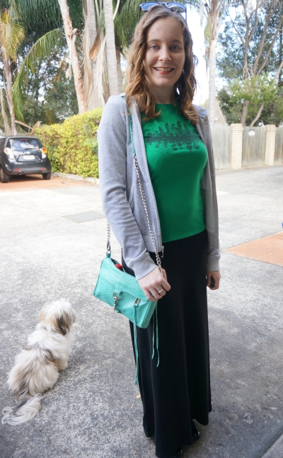 Away From Blue | jersey maxi skirt green graphic threadless tee grey juicy couture hoodie