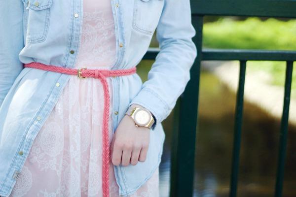Lace dress, denim shirt