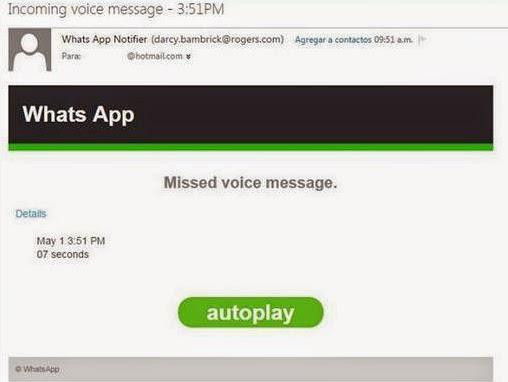 virus mensaje voz whatsApp correos electrónicos