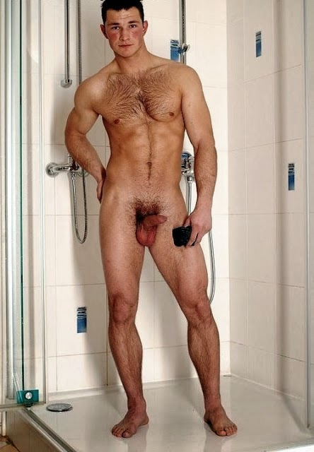 naked guy take a shower