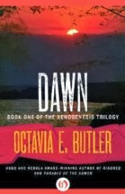 cover art for Dawn, featuring a red sunset over a dark field