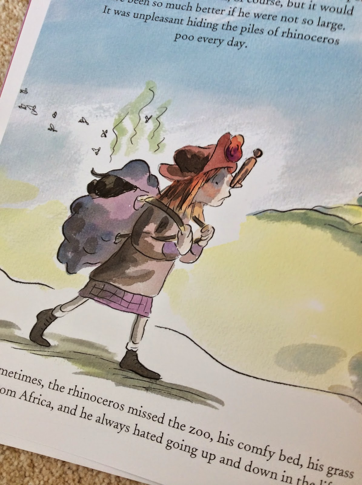 Hiding rhinoceros poo. Illustration from Rita's Rhino by Tony Ross