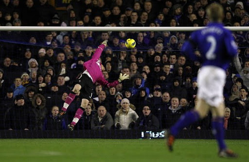 Bolton goalkeeper Ádám Bogdán is unable to stop Everton counterpart Tim Howard of scoring