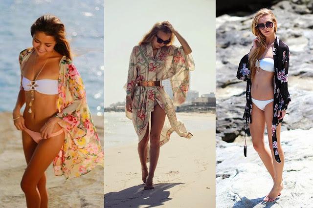 verão look kimono com biquine