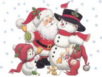 Santa con Muñecos de Nieve