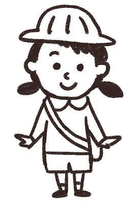 幼稚園生の女の子のイラスト 白黒線画
