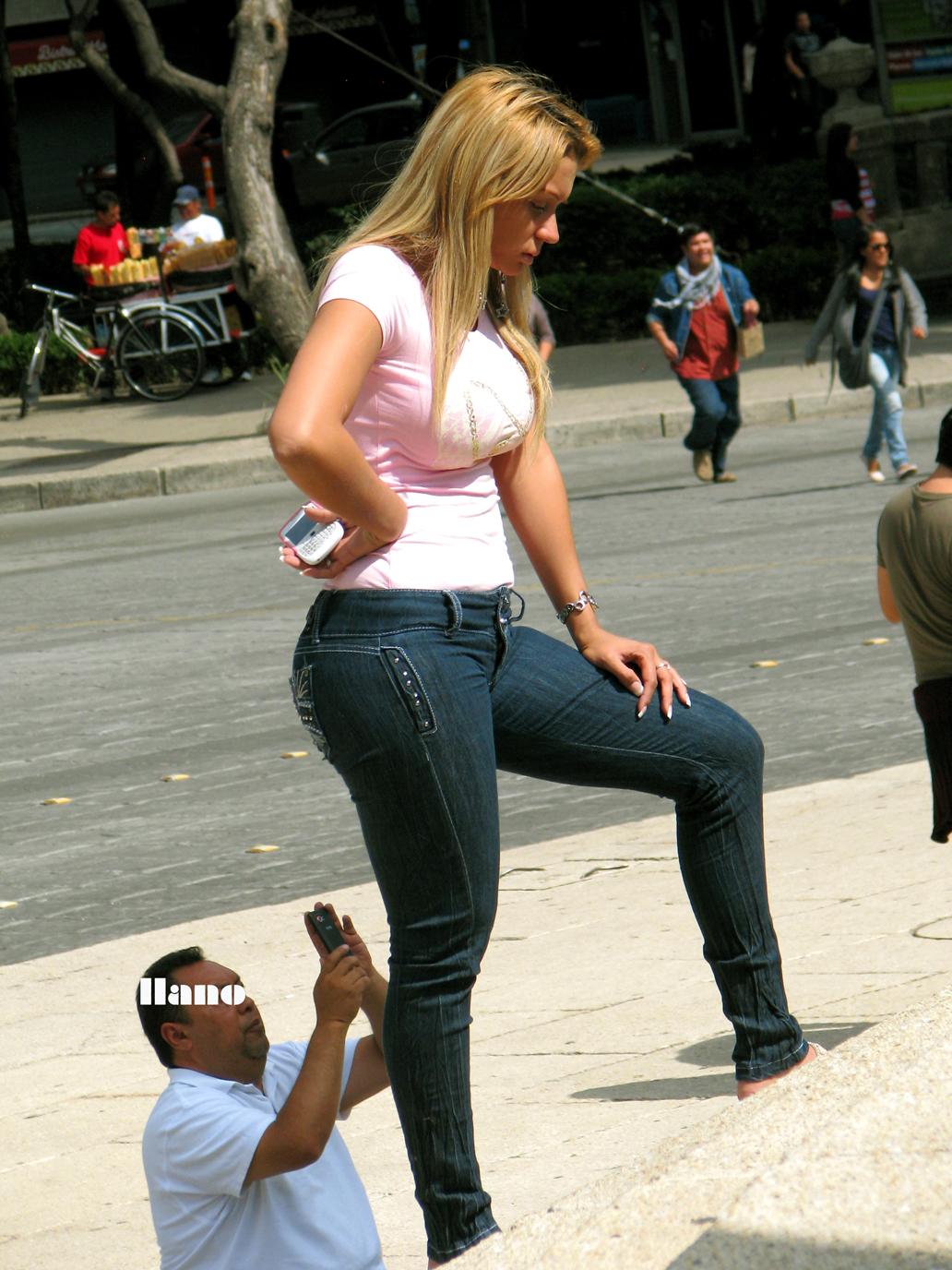 Street milf in blue pants
