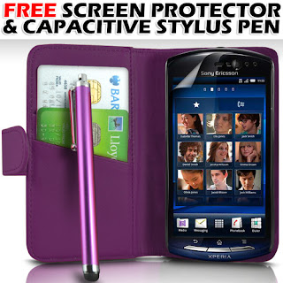 PURPLE LEATHER WALLET CASE,FILM & STYLUS FOR SONY ERICSSON NEO V