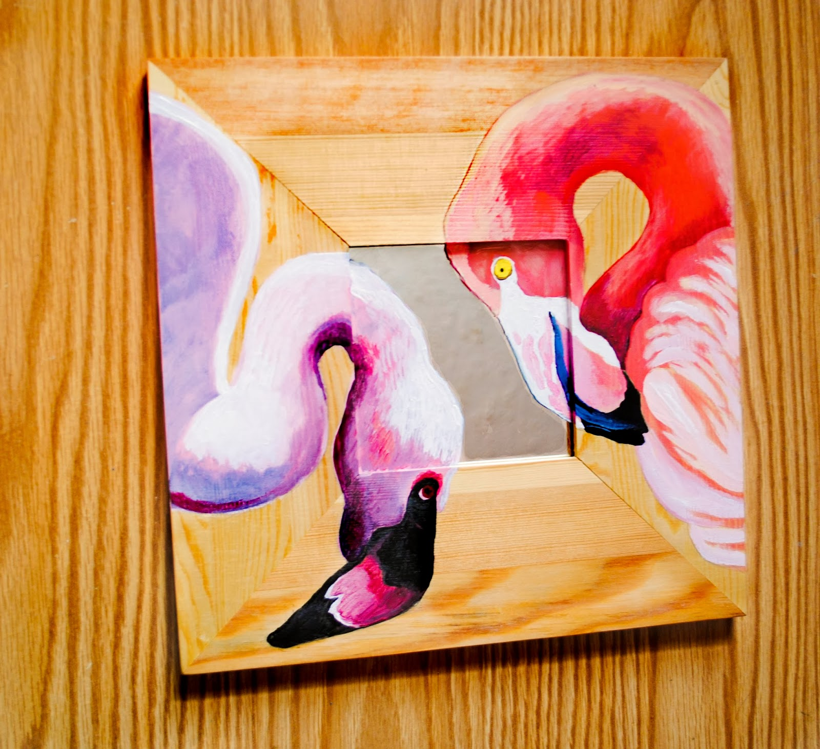Art Original Painting on Wood with Mirror, Hand Painted Flamingo