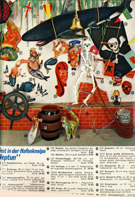 Pirate theme party supply including large embossed diecut skeleton as seen in vintage German catalog from 1974