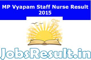 MP Vyapam Staff Nurse Result 2015