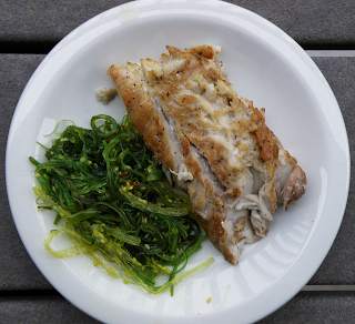 Plate of Grilled Bluefish with Seaweed Salad