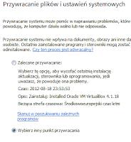 Okno wyboru punktu przywracania systemu windows - zrzut