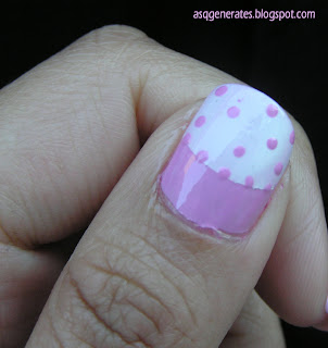 Half Moon Polka Dot Manicure -close up