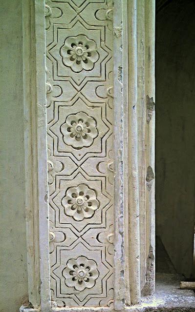 decorated pillar at Golkonda Fort in Hyderabad India