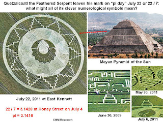 "Quetzalcoatl the Feathered Serpent leaves his mark on ""pi day"" July 22 or 22/7: what might all of its clever numerological symbols mean?"