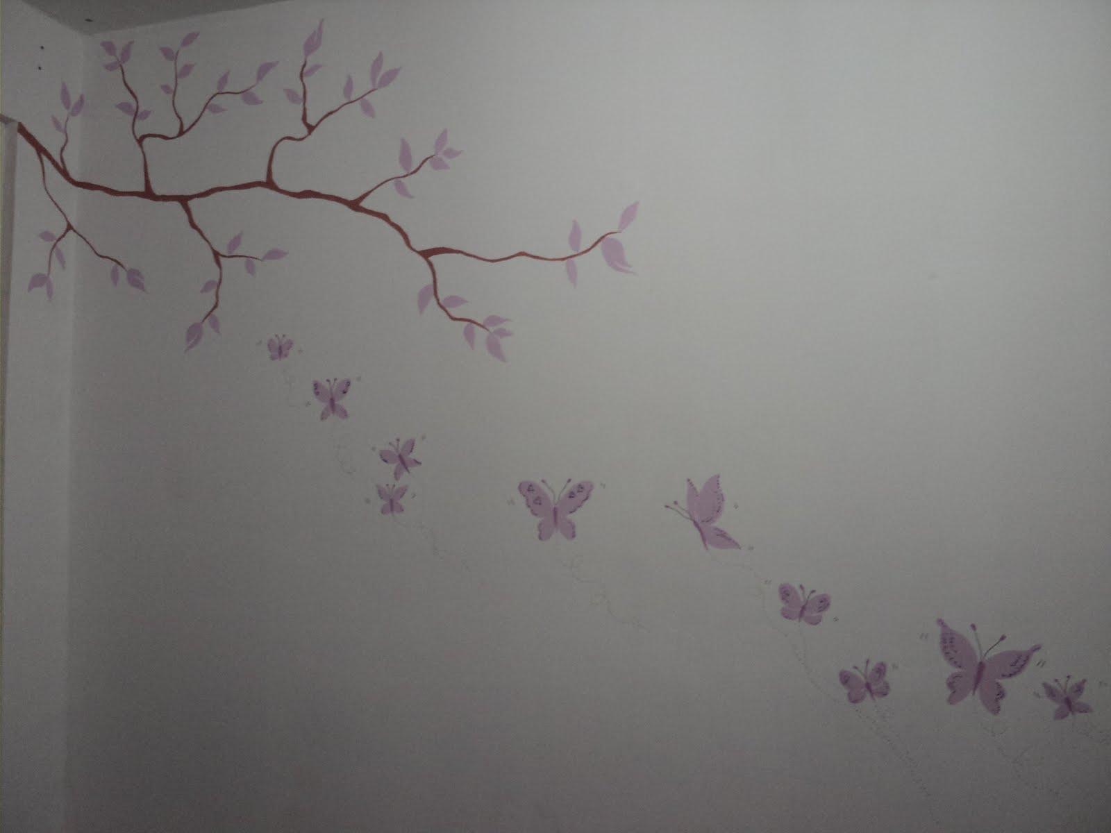 Paty artes m gicas pintura na parede borboletas - Pintura dorada para paredes ...