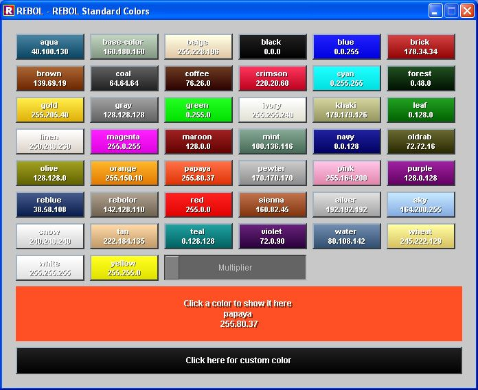 Rebol  Color Names