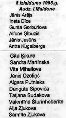 Valles vidusskolas 8. izlaidums 1985. gadā