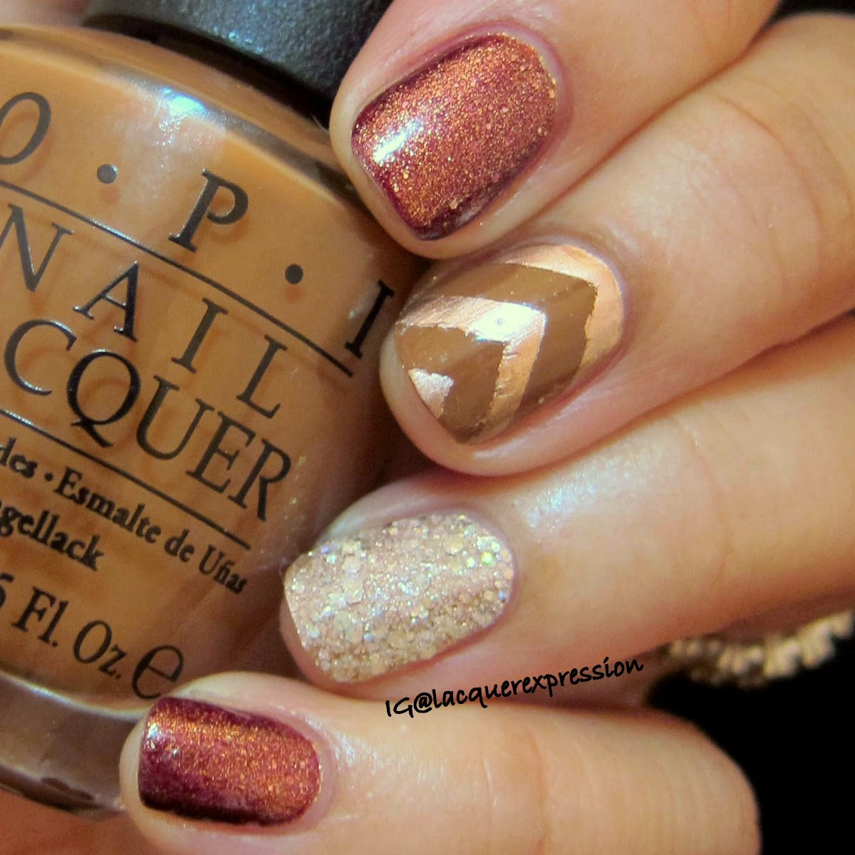 Fall inspired manicure using o.p.i. a-piers to be tan