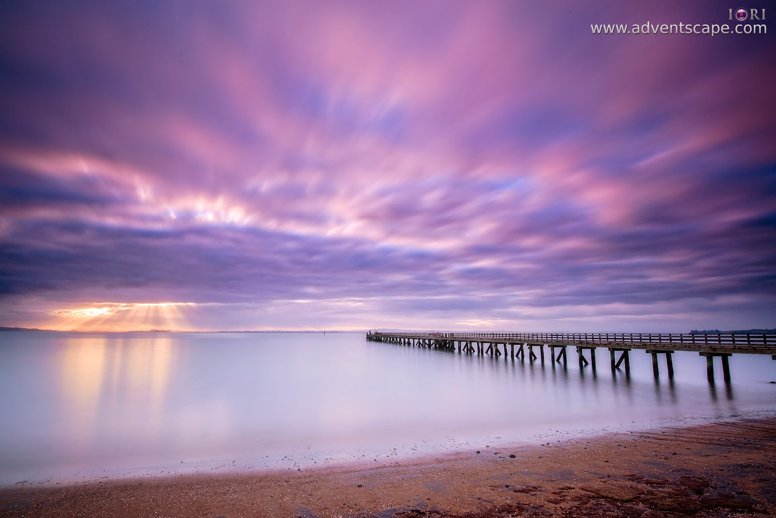 Philip Avellana, iori, adventscape, Cornwallis, jetty, seascape, landscape, North Island, New Zealand, fine art, sunrise, camera left, left side