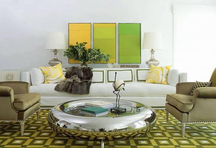 Yellow and Green Modern Living Room