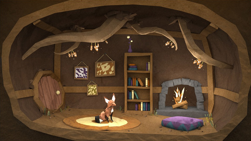Paper Fox Project | 3D CGI Papercraft Interior Of Furnished Den Featuring Character