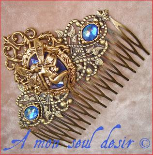 peigne cheveux fée bijou féerique accessoire coiffure mariage fairy hair comb jewel