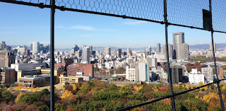 view of Osaka buildings from the Castle