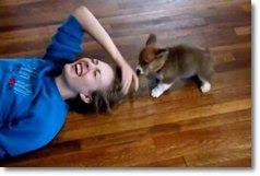 filhote atacando garota