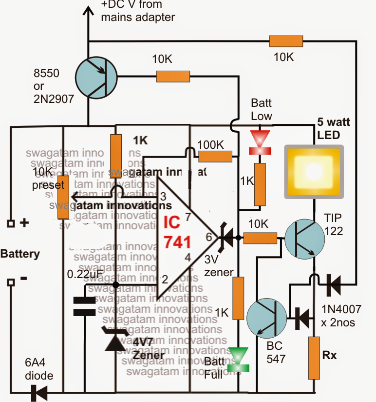 Smart Emergency Lamp Circuit With Maximum Features