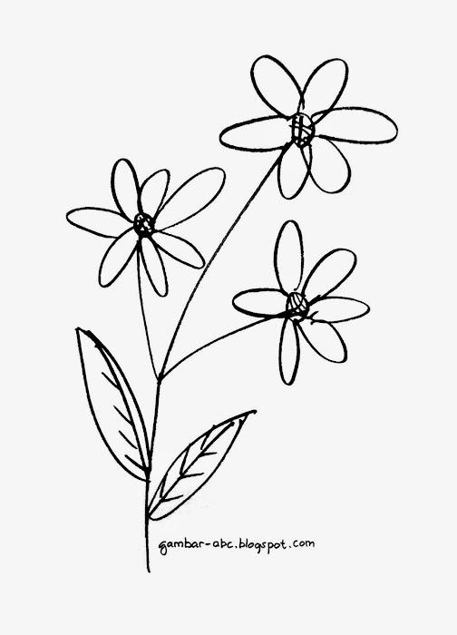 gambar bunga hitam putih untuk diwarnai