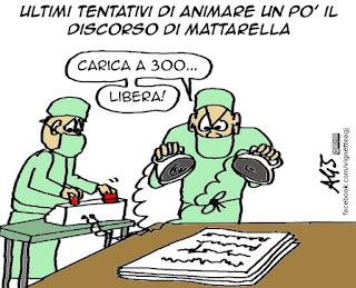 Mattarella, discorso di fine anno, ghost writer, satira vignetta