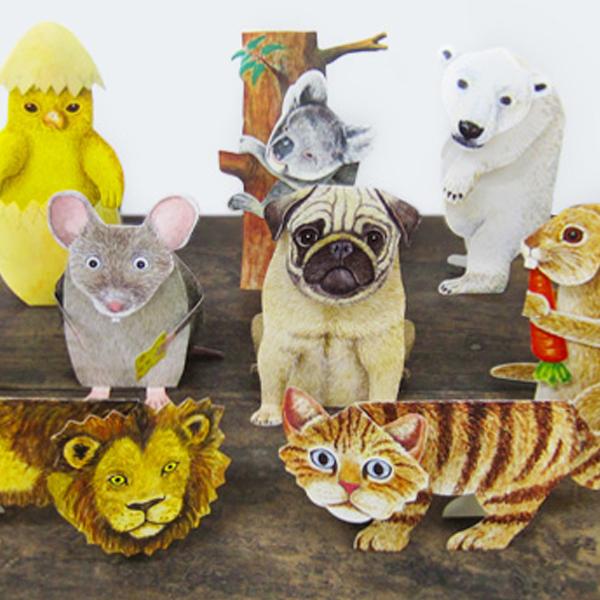 リアルな動物たち 3Dグリーティングカード