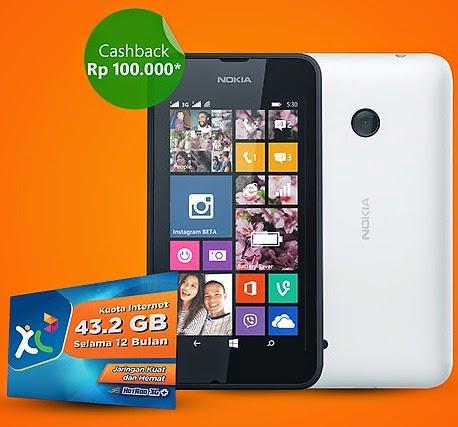 Nokia Lumia 530 Dual SIM Cashback Rp 100.000