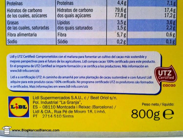 El cacao soluble Goody Cao de Lidl utiliza cacao con certificado UTZ.