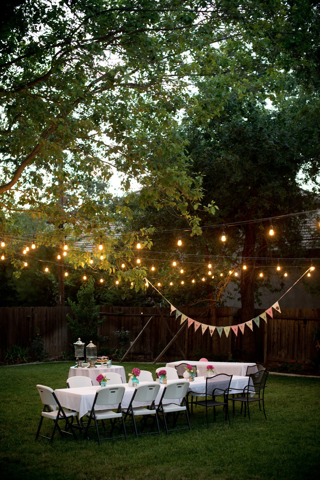 Domestic fashionista backyard birthday fun pink for Outside lighting ideas for parties