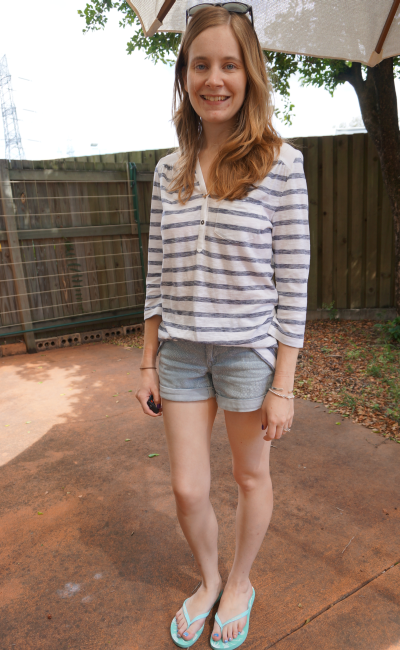 casual Queensland summer errands outfit denim shorts striped tee