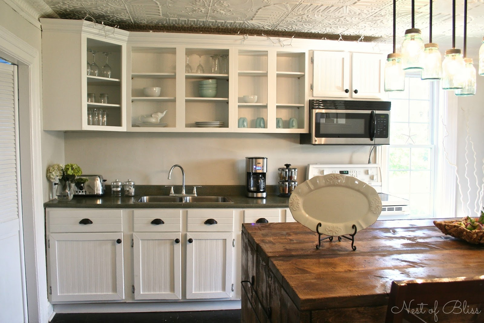 Diy Kitchen Cabinets ~ Diy beadboard wallpaper cabinets nest of bliss