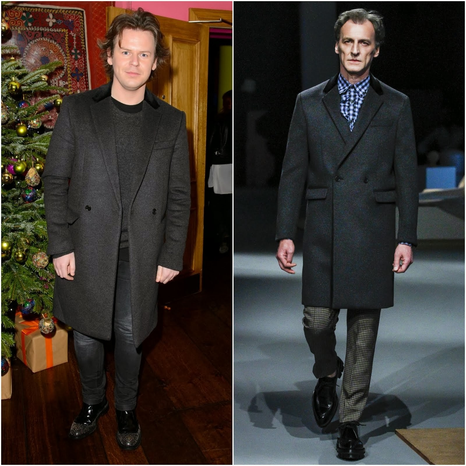 Christopher Kane in Prada grey wool coat - 'August: Osage County' drinks & screening, London