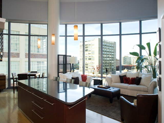 Photo of living room with huge window and the view