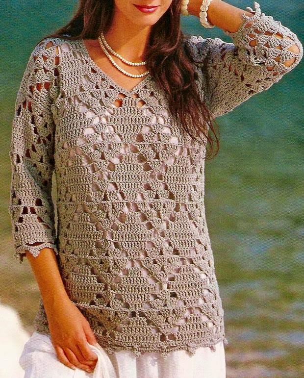 Free Crochet Patterns Ladies Cardigan : Crochet Sweaters: Crochet Tunic Pattern - Beautiful Simple ...