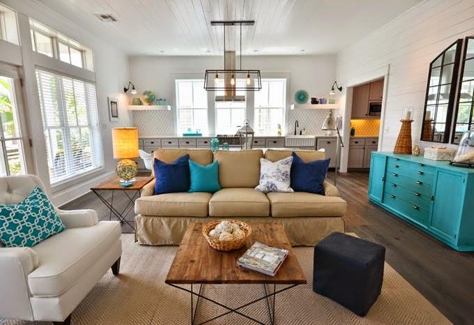 Apartment 312 cozinha sala open space em turquesa for Living room ideas pier 1