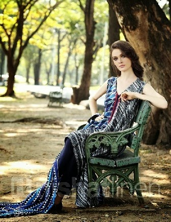 Nishat Linen Blue Printed Shirt With Trouser