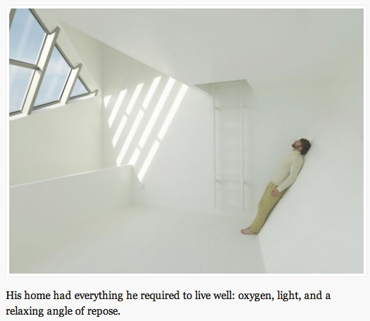 man in a white minimalist room