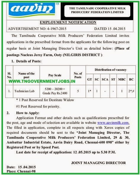 AAVIN Ooty Nilgiris Recruitments (www.tngovernmentjobs.in)